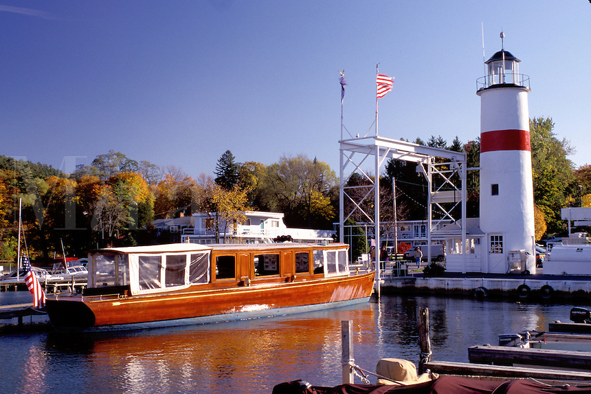 Cooperstown, New York, NY, Classic Boat Tours on the waterfront of Otsego Lake in Cooperstown.