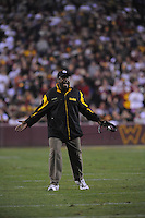 03 November 2008:  Steelers head coach Mike Tomlin yells at a referee.  The Pittsburgh Steelers defeated the Washington Redskins 23-6 on Monday Night Football at FedEx Field in Landover, MD.