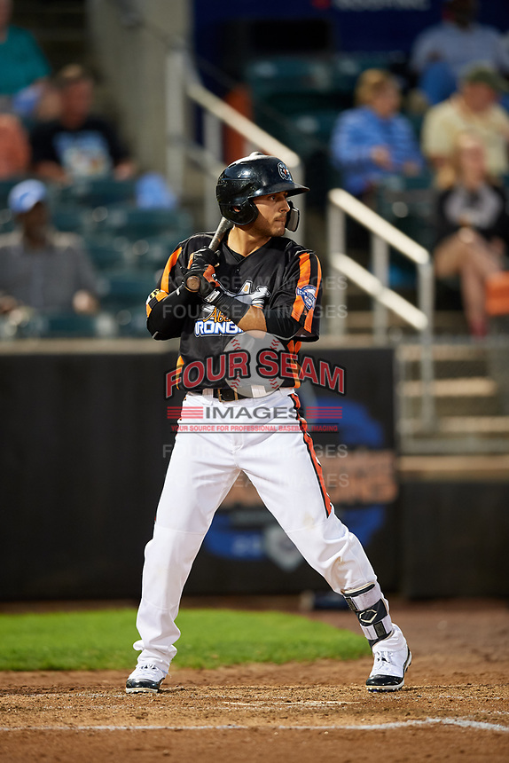 Aberdeen IronBirds second baseman Alexis Torres (35) at bat during a game against the Staten Island Yankees on August 23, 2018 at Leidos Field at Ripken Stadium in Aberdeen, Maryland.  Aberdeen defeated Staten Island 6-2.  (Mike Janes/Four Seam Images)