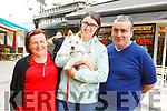 Enjoying the Tralee Food Fair on Sunday<br /> L to r: Elizabeth Shanahan O'Sullivan, Elisa Lynch and Seamus O'Sullivan and Teddy the dog.