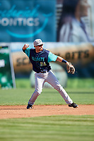 Lynchburg Hillcats second baseman Dillon Persinger (38) throws to first base for the out during the first game of a doubleheader against the Frederick Keys on June 12, 2018 at Nymeo Field at Harry Grove Stadium in Frederick, Maryland.  Frederick defeated Lynchburg 2-1.  (Mike Janes/Four Seam Images)