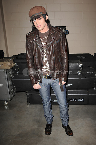 SUNRISE, FL - DECEMBER 12 : Adam Lambert poses backstage at the Y-100 Jingle ball held at the Bank Atlantic center on December 12, 2009 in Fort Lauderdale Florida. Credit: mpi04/MediaPunch