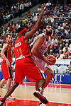 Real Madrid´s Bourousis (R) and CAI Zaragoza´s Elonu during 2013-14 Liga Endesa basketball match at Palacio de los Deportes stadium in Madrid, Spain. May 30, 2014. (ALTERPHOTOS/Victor Blanco)