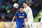 Getafe CF's Angel Rodriguez (l) and FC Krasnodar's Aleksandr Martynovich during UEFA Europa League match. December 12,2019. (ALTERPHOTOS/Acero)