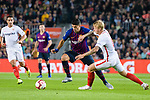 Luis Suarez of FC Barcelona (L) fights for the ball with Simon Kjaer of Sevilla FC (R) during the La Liga 2018-19 match between FC Barcelona and Sevilla FC at Camp Nou Stadium on October 20 2018 in Barcelona, Spain. Photo by Vicens Gimenez / Power Sport Images