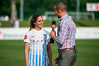 Kansas City, MO - Saturday September 9, 2017: Morgan Brian, Dalen Cuff during a regular season National Women's Soccer League (NWSL) match between FC Kansas City and the Chicago Red Stars at Children's Mercy Victory Field.