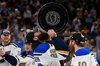 June 12, 2019: St. Louis Blues right wing Chris Thorburn (22) kisses the Stanley Cup at game 7 of the NHL Stanley Cup Finals between the St Louis Blues and the Boston Bruins held at TD Garden, in Boston, Mass.  The Saint Louis Blues defeat the Boston Bruins 4-1 in game 7 to win the 2019 Stanley Cup Championship.  Eric Canha/CSM.
