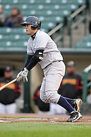 Scranton Wilkes-Barre Yankees catcher Jesus Montero #21 at bat during a game against the Rochester Red Wings at Frontier Field on April 12, 2011 in Rochester, New York.  Scranton defeated Rochester 5-3.  Photo By Mike Janes/Four Seam Images