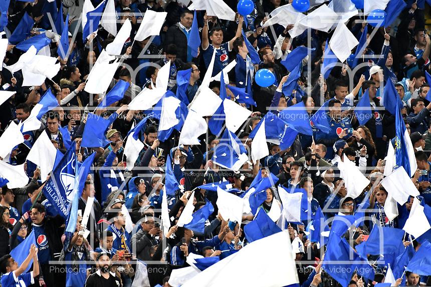BOGOTÁ-COLOMBIA, 23–10-2019: Hinchas de Millonarios durante partido entre Millonarios y el Independiente Santa Fe de la fecha 19 por la Liga Águila II 2019  jugado en el estadio Nemesio Camacho El Campín de la ciudad de Bogotá. / Fans of Millonarios during a match between Millonarios and Independiente Santa Fe of the 19th date for the Aguila Leguaje II 2019 played at the Nemesio Camacho El Campin Stadium in Bogota city, Photo: VizzorImage / Luis Ramírez / Staff.