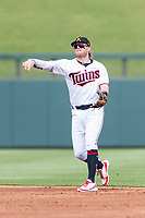 Salt River Rafters second baseman Travis Blankenhorn (5), of the Minnesota Twins organization, throws to first base during an Arizona Fall League game against the Surprise Saguaros at Salt River Fields at Talking Stick on October 23, 2018 in Scottsdale, Arizona. Salt River defeated Surprise 7-5 . (Zachary Lucy/Four Seam Images)