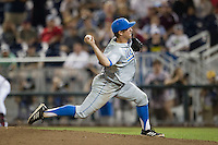 UCLA pitcher David Berg (26) delivers a pitch to the plate against the Mississippi State Bulldogs during Game 1 of the 2013 Men's College World Series Final on June 24, 2013 at TD Ameritrade Park in Omaha, Nebraska. The Bruins defeated the Bulldogs 2-1, taking a 1-0 lead in the best of 3 series. (Andrew Woolley/Four Seam Images)