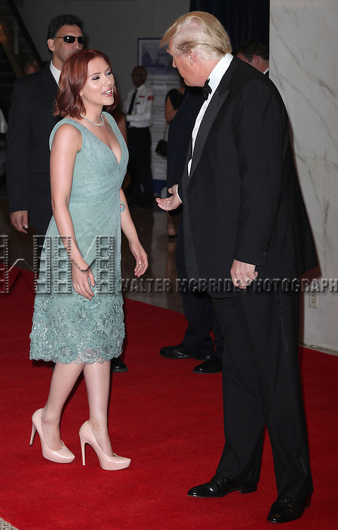 Scarlett Johansson &amp; Donald Trump<br /> attending the White House Correspondents' Association (WHCA) dinner at the Washington Hilton Hotel in Washington, D.C..