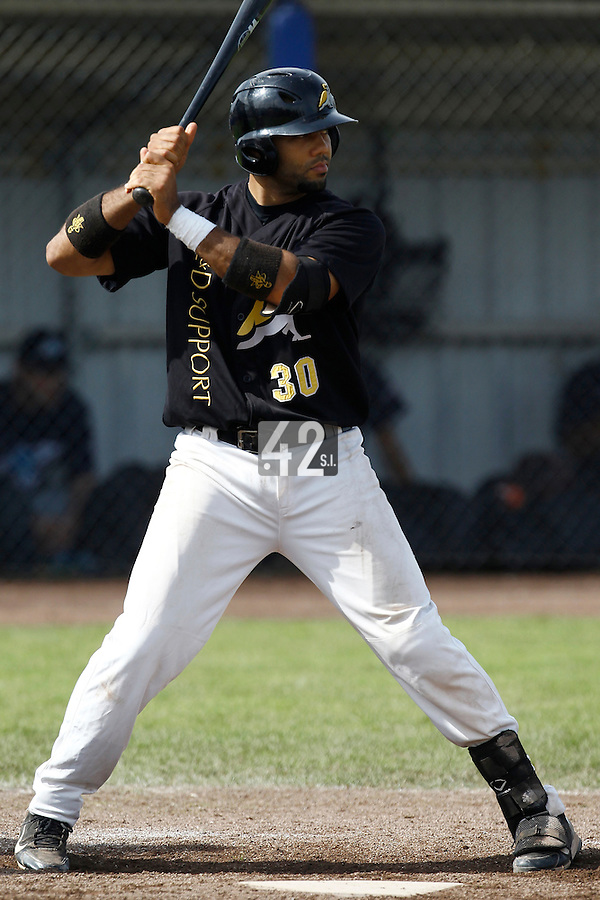 10 September 2011: Vince Rooi of L&D Amsterdam Pirates is seen at bat during game 4 of the 2011 Holland Series won 6-2 by L&D Amsterdam Pirates over Vaessen Pioniers, in Amsterdam, Netherlands.
