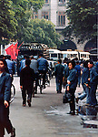 People dressed in the traditional blue overalls of the time.Pictures taken in Canton China in 1977