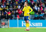 ****BETALBILD**** <br /> Stockholm 2015-04-08 Fotboll Landskamp Damer , Sverige - Danmark :  <br /> Sveriges Emma Berglundser fundersam ut efter matchen mellan Sverige och Danmark <br /> (Photo: Kenta J&ouml;nsson) Keywords:  Sweden Sverige Denmark Danmark Landskamp Dam Damer Tele2 Arena Stockholm depp besviken besvikelse sorg ledsen deppig nedst&auml;md uppgiven sad disappointment disappointed dejected fundersam fundera t&auml;nka analysera
