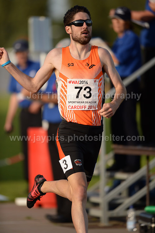 International athletics at Cardiff International stadium, Cardiff, South Wales - Tuesday 15th July 2014<br /> <br /> David Bishop of Scotland wins the Men's 800m final race. <br /> <br /> <br /> Photo by Jeff Thomas Photography