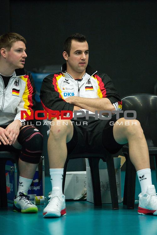 29.12.2013, Lotto Dome, Maaseik<br /> Volleyball, Belgien vs. Deutschland<br /> <br /> Markus Steuerwald (#2 GER), Georg / Gy&ouml;rgy / Gyoergy Grozer (#9 GER)<br /> <br />   Foto &copy; nordphoto / Kurth