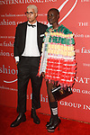 Miles Chamley-Waston, Olympic Fencer and model Grace Bol, arrive at The Fashion Group International's Night of Stars 2017 gala at Cipriani Wall Street on October 26, 2017.