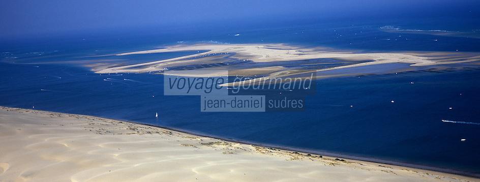 Europe/France/Aquitaine/33/Gironde/Bassin d'Arcachon: Le Banc d'Arguin et la Dune du Pilat -vue aérienne