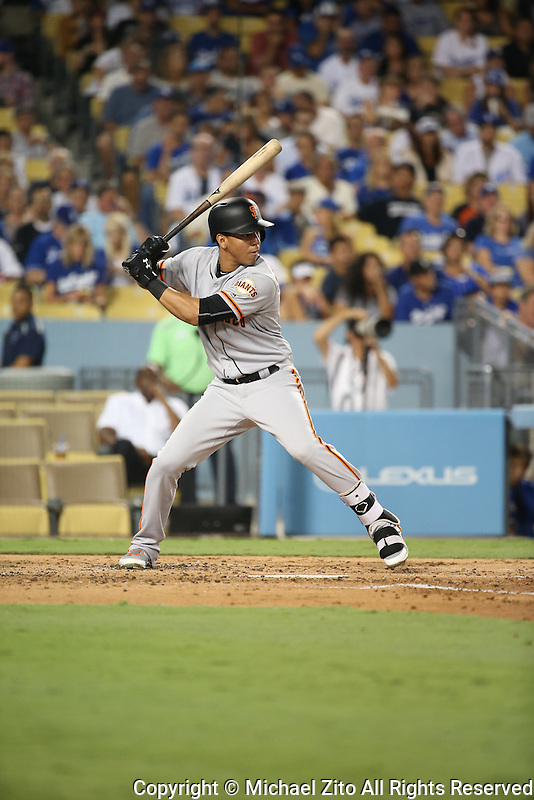 09/20/16 Los Angeles, CA:San Francisco Giants shortstop Ehire Adrianza #1 during an MLB game played at Dodger Stadium between the San Francisco Giants and the Los Angeles Dodgers