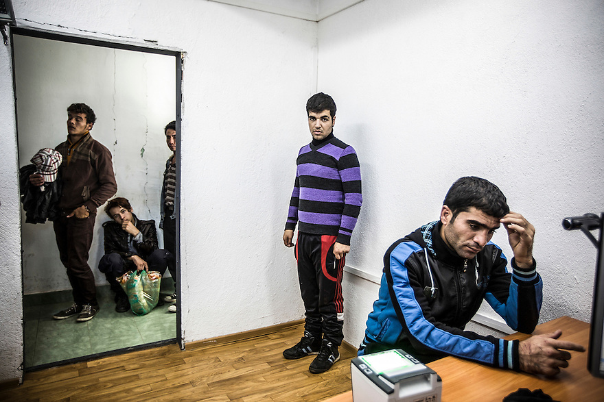 Migrants and asylum-seekers are registered at the Elhovo Border Police Station. PHOTO BY JODI HILTON