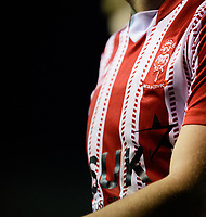 A close up of the Lincoln City club badge on a home shirt<br /> <br /> Photographer Chris Vaughan/CameraSport<br /> <br /> The Emirates FA Cup Second Round - Lincoln City v Carlisle United - Saturday 1st December 2018 - Sincil Bank - Lincoln<br />  <br /> World Copyright © 2018 CameraSport. All rights reserved. 43 Linden Ave. Countesthorpe. Leicester. England. LE8 5PG - Tel: +44 (0) 116 277 4147 - admin@camerasport.com - www.camerasport.com