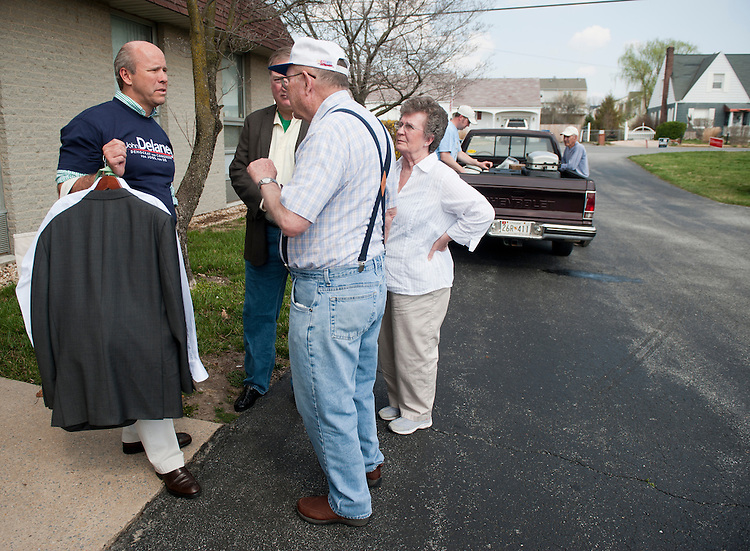 UNITED STATES  MARCH 17: Congressional candidate John Delaney, left, speaks with potential voters outside of the UAW Hall in Hagerstown, Md., where the Washington County Democratic Central Committee hosted a candidates forum on Saturday, March 17, 2012. Delaney and four other Democrats will face off in a primary election to see who will face Rep. Roscoe Bartlett, R-Md., in November.  (Photo By Bill Clark/CQ Roll Call)
