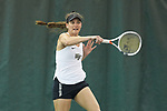 Mary Caroline Meredith of the Wake Forest Demon Deacons follows through on a return during the match against the Liberty Flames at the Wake Forest Indoor Tennis Center on March 11, 2017 in Winston-Salem, North Carolina. The Demon Deacons defeated the Flames 7-0.  (Brian Westerholt/Sports On Film)