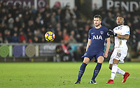 Eric Dier of Spurs & Jordan Ayew of Swansea City during the Premier League match between Swansea City and Tottenham Hotspur at the Liberty Stadium, Swansea, Wales on 2 January 2018. Photo by Mark Hawkins / PRiME Media Images.