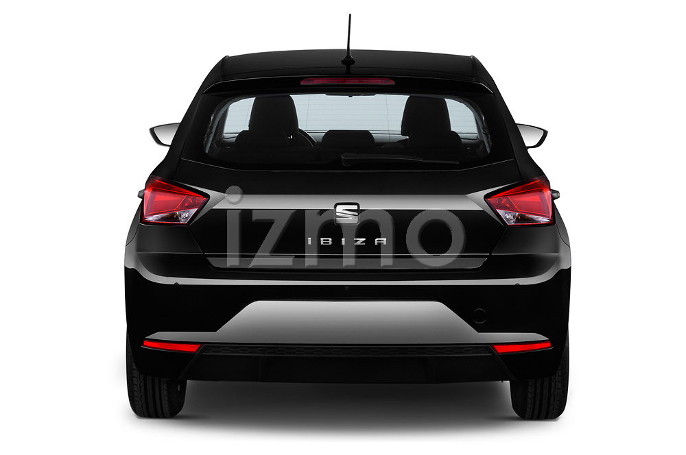 Straight rear view of a 2018 Seat Ibiza Reference 5 Door Hatchback stock images