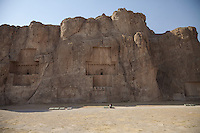 June 26, 2014 - Persepolis (Iran). Tourist visits the Naqsh-e-Rostam, an ancient necropolis located about 12 km northwest of Persepolis. © Thomas Cristofoletti / Ruom