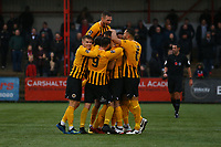 Andi Thanoj of Boston United celebrates his goal in the first half with team mates  during Carshalton Athletic vs Boston United, Emirates FA Cup Football at the War Memorial Sports Ground on 9th November 2019