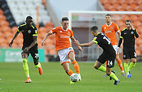 Blackpool's Jordan Thompson under pressure from Macclesfield Town's Emmanuel Osadebe (left) and Connor Kirby<br /> <br /> Photographer Kevin Barnes/CameraSport<br /> <br /> The Carabao Cup First Round - Blackpool v Macclesfield Town - Tuesday 13th August 2019 - Bloomfield Road - Blackpool<br />  <br /> World Copyright © 2019 CameraSport. All rights reserved. 43 Linden Ave. Countesthorpe. Leicester. England. LE8 5PG - Tel: +44 (0) 116 277 4147 - admin@camerasport.com - www.camerasport.com