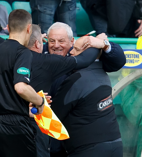 Walter Smith hugs Ally McCoist and Kenny McDowall at the final whistle