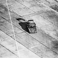 #6 Porsche 935 of Derek Bell, A.J. Foyt, and Bob Wollek, aerial view from Goodyear blimp, 3rd place,  12 Hours of Sebring, IMSA Camel GT race, Sebring International Raceway, Sebring, Florida, March 24, 1984.  (Photo by Brian Cleary/www.bcpix.com)