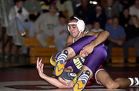 Shawn Harmon wrestles against San Francisco State on November 14, 2000 at Burnham Pavilion.