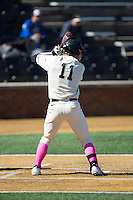 Jonathan Pryor (11) of the Wake Forest Demon Deacons at bat against the Virginia Tech Hokies at Wake Forest Baseball Park on March 7, 2015 in Winston-Salem, North Carolina.  The Hokies defeated the Demon Deacons 12-7 in game one of a double-header.   (Brian Westerholt/Four Seam Images)