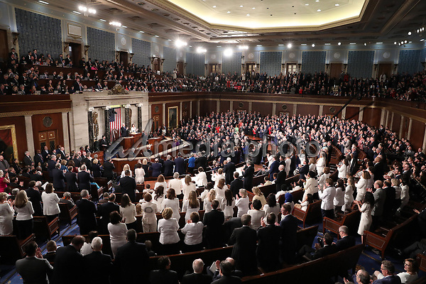 United States President Donald J. Trump receives a standing ovation as he delivers his second annual State of the Union Address to a joint session of the US Congress in the US Capitol in Washington, DC on Tuesday, February 5, 2019. Photo Credit: Alex Edelman/CNP/AdMedia