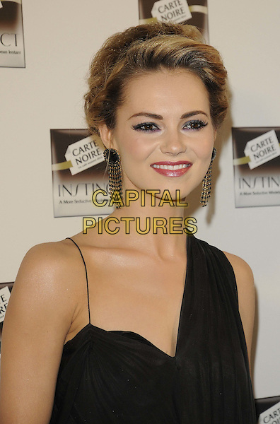Kara Tointon.The Carte Noire Instant new coffee product launch party, One Marylebone, London, England..April 18th, 2012.headshot portrait black one shoulder  .CAP/CAN.©Can Nguyen/Capital Pictures.