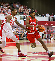 NWA Democrat-Gazette/BEN GOFF @NWABENGOFF<br /> JD Notae (11), Arkansas guard, drives past Reggie Chaney, Arkansas forward, in the first half Saturday, Oct. 5, 2019, during the annual Arkansas Red-White Game at Barnhill Arena in Fayetteville.