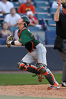 "Miami Hurricanes Shane Rowland #24 during a game vs. the University of South Florida Bulls in the ""Florida Four"" at George M. Steinbrenner Field in Tampa, Florida;  March 1, 2011.  USF defeated Miami 4-2.  Photo By Mike Janes/Four Seam Images"