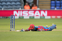 Gulbadin Naib (Afghanistan) dives to make his ground during Afghanistan vs Sri Lanka, ICC World Cup Cricket at Sophia Gardens Cardiff on 4th June 2019