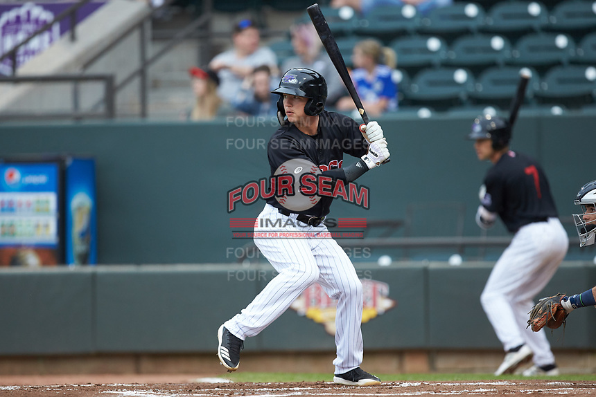 Tyler Frost (5) of the Winston-Salem Dash at bat against the Wilmington Blue Rocks at BB&T Ballpark on April 17, 2019 in Winston-Salem, North Carolina. The Blue Rocks defeated the Dash 2-1. (Brian Westerholt/Four Seam Images)