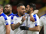 Leicester City's Riyad Mahrez celebrates scoring his sides opening goal with Danny Simpson<br /> <br /> - English Premier League - Watford vs Leicester City  - Vicarage Road - London - England - 5th March 2016 - Pic David Klein/Sportimage