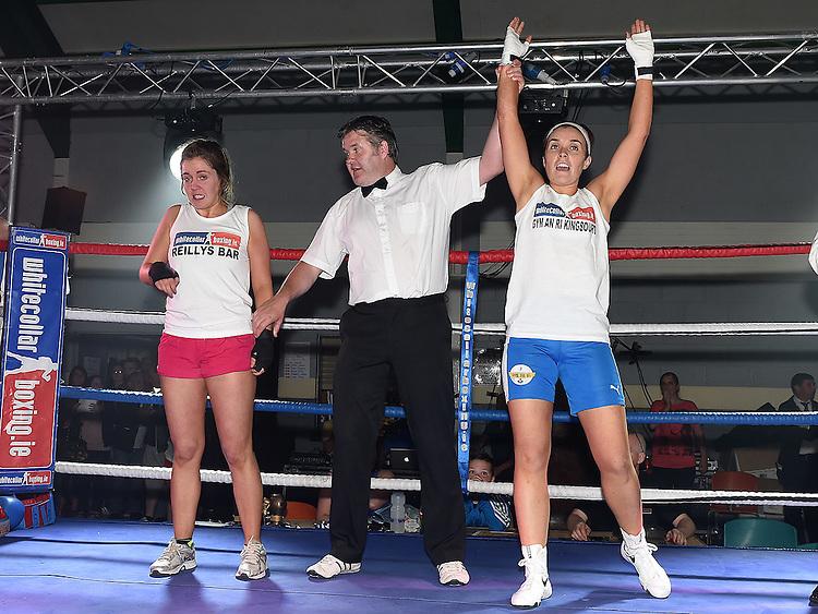 Amanda Duff beats Sammy Myles in the White Collar Boxing in Ardee Parish Centre. Photo:Colin Bell/pressphotos.ie