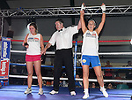 Amanda Duff beats Sammy Myles in the White Collar Boxing in Ardee Parish Centre. Photo:Colin Bell/pressphotos.ie