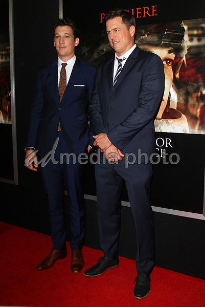 """23 October 2017 - Los Angeles, California - Miles Teller and Director Jason Hall. """"Thank You For Your Service"""" Premiere held at the Regal L.A. Live Theatre in Los Angeles. Photo Credit: AdMedia"""