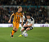 8th September 2017, Pride Park Stadium, Derby, England; EFL Championship football, Derby County versus Hull City; Kamil Grosicki of Hull City on the ball as David Nugent of Derby County turns quickly too react