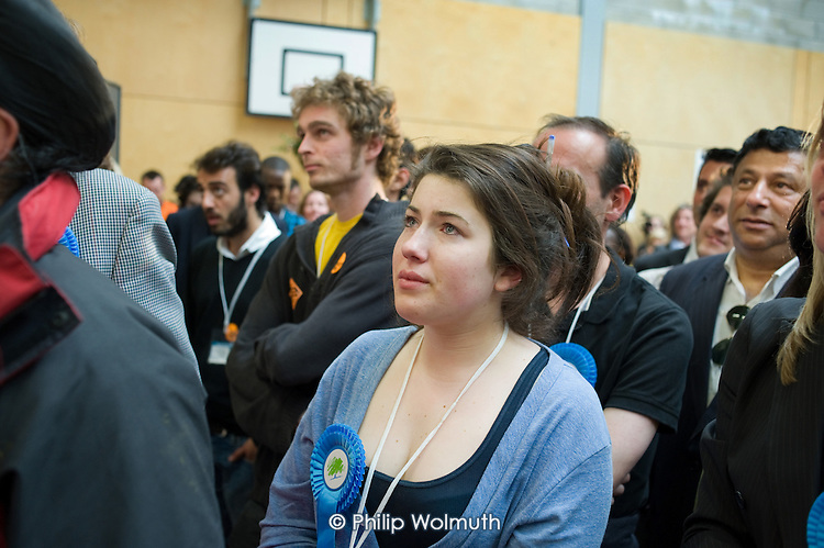 Supporter of defeated Conservative candidate Chris Philp after Labour MP Glenda Jackson holds the marginal seat of Hampstead and Kilburn by 42 votes in the 2010 General Election.