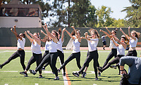 Dancers, halftime<br /> The Occidental Tigers football team plays against Willamette University in Jack Kemp Stadium on Saturday, Sept. 15, 2018. It was their first home game of the season and second game of the season. Willamette won, 25-6.<br /> (Photo by Marc Campos, Occidental College Photographer)